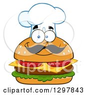 Clipart Of A Cartoon Cheeseburger Chef Character Wearing A Toque Hat Royalty Free Vector Illustration