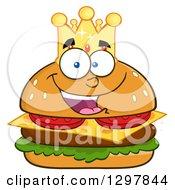 Clipart Of A Cartoon Cheeseburger King Character Wearing A Crown Royalty Free Vector Illustration