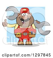 Clipart Of A Cartoon Black Or Hispanic Male Mechanic Wearing A Tool Belt Giving A Thumb Up And Holding A Giant Wrench Over Blue Royalty Free Vector Illustration by Hit Toon