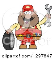 Cartoon Black Or Hispanic Male Mechanic Wearing A Tool Belt Waving With A Wrench And Standing With A Tire
