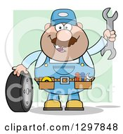 Cartoon White Male Mechanic Wearing A Tool Belt Waving With A Wrench And Standing With A Tire Over Green