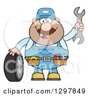 Cartoon White Male Mechanic Wearing A Tool Belt Waving With A Wrench And Standing With A Tire