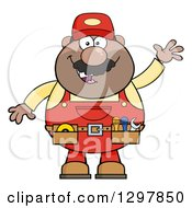 Cartoon Black Or Hispanic Male Mechanic Wearing A Tool Belt And Waving