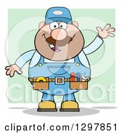Clipart Of A Cartoon White Male Mechanic Wearing A Tool Belt And Waving Over Green Royalty Free Vector Illustration