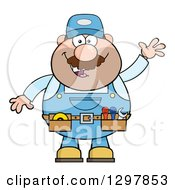 Clipart Of A Cartoon White Male Mechanic Wearing A Tool Belt And Waving Royalty Free Vector Illustration by Hit Toon