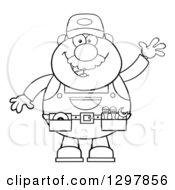Cartoon Black And White Male Mechanic Wearing A Tool Belt And Waving