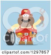 Clipart Of A Cartoon Flat Design Black Or Hispanic Male Mechanic Wearing A Tool Belt Waving With A Wrench And Standing With A Tire Over Blue Royalty Free Vector Illustration