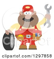 Clipart Of A Cartoon Flat Design Black Or Hispanic Male Mechanic Wearing A Tool Belt Waving With A Wrench And Standing With A Tire Royalty Free Vector Illustration