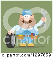 Clipart Of A Cartoon Flat Design White Male Mechanic Wearing A Tool Belt Waving With A Wrench And Standing With A Tire Over Green Royalty Free Vector Illustration by Hit Toon