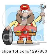 Clipart Of A Cartoon Black Or Hispanic Male Mechanic Wearing A Tool Belt Waving With A Wrench And Standing With A Tire Over Blue Royalty Free Vector Illustration by Hit Toon