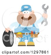 Clipart Of A Cartoon Flat Design White Male Mechanic Wearing A Tool Belt Waving With A Wrench And Standing With A Tire Royalty Free Vector Illustration by Hit Toon