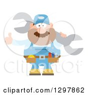Clipart Of A Cartoon Flat Design White Male Mechanic Wearing A Tool Belt Giving A Thumb Up And Holding A Giant Wrench Royalty Free Vector Illustration by Hit Toon
