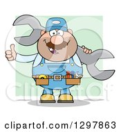 Clipart Of A Cartoon White Male Mechanic Wearing A Tool Belt Giving A Thumb Up And Holding A Giant Wrench Over Green Royalty Free Vector Illustration by Hit Toon