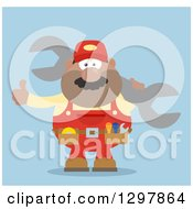 Clipart Of A Cartoon Flat Design Black Or Hispanic Male Mechanic Wearing A Tool Belt Giving A Thumb Up And Holding A Giant Wrench Over Blue Royalty Free Vector Illustration