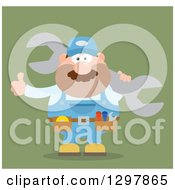 Clipart Of A Cartoon Flat Design White Male Mechanic Wearing A Tool Belt Giving A Thumb Up And Holding A Giant Wrench On Green Royalty Free Vector Illustration by Hit Toon