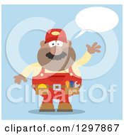 Cartoon Flat Design Black Or Hispanic Male Mechanic Wearing A Tool Belt Talking And Waving Over Blue