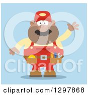 Cartoon Flat Design Black Or Hispanic Male Mechanic Wearing A Tool Belt And Waving Over Blue