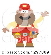 Clipart Of A Cartoon Flat Design Black Or Hispanic Male Mechanic Wearing A Tool Belt And Waving Royalty Free Vector Illustration