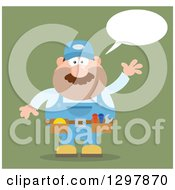 Clipart Of A Cartoon Flat Design White Male Mechanic Wearing A Tool Belt Talking And Waving Over Green Royalty Free Vector Illustration by Hit Toon