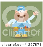 Cartoon Flat Design White Male Mechanic Wearing A Tool Belt And Waving Over Green