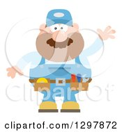 Cartoon Flat Design White Male Mechanic Wearing A Tool Belt And Waving