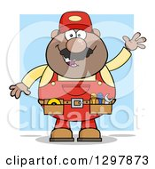 Clipart Of A Cartoon Black Or Hispanic Male Mechanic Wearing A Tool Belt And Waving Over Blue Royalty Free Vector Illustration by Hit Toon