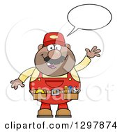 Clipart Of A Cartoon Black Or Hispanic Male Mechanic Wearing A Tool Belt Talking And Waving Royalty Free Vector Illustration