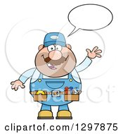 Cartoon White Male Mechanic Wearing A Tool Belt Talking And Waving