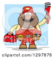 Cartoon Black Or Hispanic Male Plumber Wearing A Tool Belt And Holding Up A Monkey Wrench Over Blue