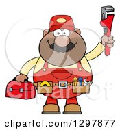 Clipart Of A Cartoon Black Or Hispanic Male Plumber Wearing A Tool Belt And Holding Up A Monkey Wrench Royalty Free Vector Illustration