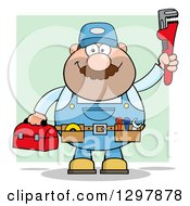 Clipart Of A Cartoon White Male Plumber Wearing A Tool Belt And Holding Up A Monkey Wrench Over Green Royalty Free Vector Illustration by Hit Toon