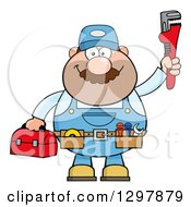 Cartoon White Male Plumber Wearing A Tool Belt And Holding Up A Monkey Wrench