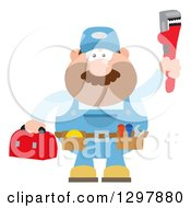 Clipart Of A Cartoon Flat Design White Male Plumber Wearing A Tool Belt And Holding Up A Monkey Wrench Royalty Free Vector Illustration by Hit Toon