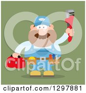 Clipart Of A Cartoon Flat Design White Male Plumber Wearing A Tool Belt And Holding Up A Monkey Wrench Over Green Royalty Free Vector Illustration by Hit Toon