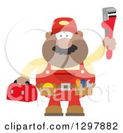 Clipart Of A Cartoon Flat Design Black Or Hispanic Male Plumber Wearing A Tool Belt And Holding Up A Monkey Wrench Royalty Free Vector Illustration