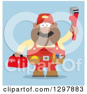 Clipart Of A Cartoon Flat Design Black Or Hispanic Male Plumber Wearing A Tool Belt And Holding Up A Monkey Wrench Over Blue Royalty Free Vector Illustration
