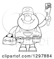 Clipart Of A Cartoon Black And White Male Plumber Wearing A Tool Belt And Holding Up A Monkey Wrench Royalty Free Vector Illustration by Hit Toon