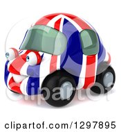 Clipart Of A 3d British Flag Taxi Cab Car Character Facing Left Royalty Free Illustration