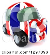Clipart Of A 3d British Flag Taxi Cab Car Character Facing Right Royalty Free Illustration