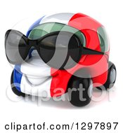 Clipart Of A 3d French Taxi Cab Car Character Wearing Sunglasses And Facing Left Royalty Free Illustration