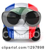 Clipart Of A 3d French Taxi Cab Car Character Wearing Sunglasses Royalty Free Illustration