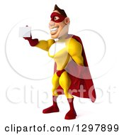 Clipart Of A 3d Muscular Yellow And Red Super Hero Man Facing Left And Holding Out A Business Card Royalty Free Illustration