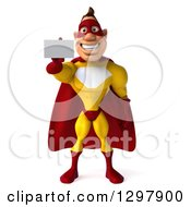 Clipart Of A 3d Muscular Yellow And Red Super Hero Man Holding Out A Business Card Royalty Free Illustration