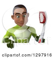 Clipart Of A 3d Young Black Male Dentist Super Hero In A Green Suit Holding A Giant Toothbrush And Looking Down Over A Sign Royalty Free Illustration