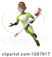 Clipart Of A 3d Young Black Male Dentist Super Hero In A Green Suit Presenting Flying And Holding A Giant Toothbrush Royalty Free Illustration