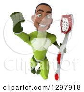 Clipart Of A 3d Young Black Male Dentist Super Hero In A Green Suit Flying And Holding A Giant Toothbrush Royalty Free Illustration