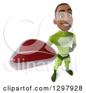 Clipart Of A 3d Young Black Male Super Hero In A Green Suit Holding Up A Beef Steak Royalty Free Illustration