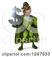Clipart Of A 3d Buff Male Black Super Hero In Green Holding A Usd Dollar Currency Symbol Royalty Free Illustration
