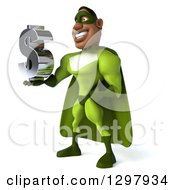 Clipart Of A 3d Buff Male Black Super Hero In Green Facing Left And Holding A Usd Dollar Currency Symbol Royalty Free Illustration by Julos