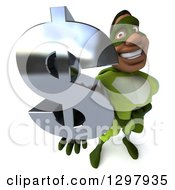 Clipart Of A 3d Buff Male Black Super Hero In Green Holding Up A Usd Dollar Currency Symbol Royalty Free Illustration by Julos